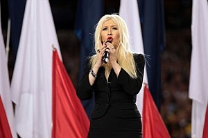 Super Bowl XLV Christina Aquilera Sings National Anthem