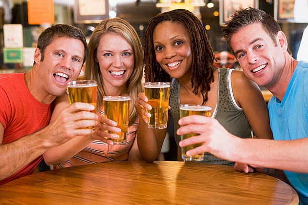 Group of young friends in bar toasting to the camera